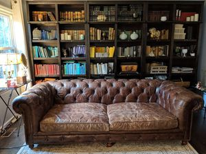 """98"""" Couch / Sofa Restoration Hardware, Tufted Leather for Sale in Lincolnia, VA"""