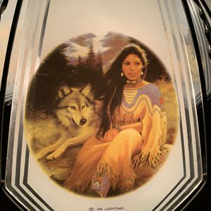 Vintage Beautiful Indian Woman and Wolf Glass and Metal Lamp for Sale in Grayslake, IL