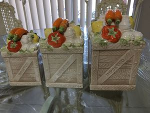 """Vintage canister set """"veggies design"""" 6 pieces, porcelain, not used.$35 for Sale in Miami, FL"""