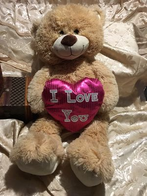 """CUTE PLUSH TEDDY BEAR HOLDING """"I LOVE YOU """" RED HEART. CUDDLY GIFT for Sale in La Porte, TX"""