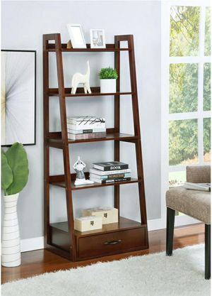 "64"" Brown Cherry Wood 5-shelf Ladder Bookcase with Drawer for Sale in Chino, CA"