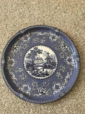 Vintage Tin Serving tray DAHER Decorated Ware Blue Willow Asian Scene England for Sale, used for sale  Rutherford, NJ