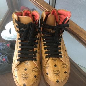 MCM Cognac Logo High Top Sneakers Size 35 Good Condition for Sale in Hialeah, FL