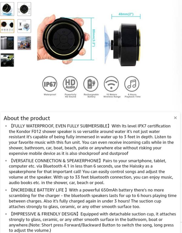IPX7 ..F012 Bluetooth Shower Speaker - Certified Waterproof - Wireless It Pairs Easily To All Your Bluetooth Devices - New