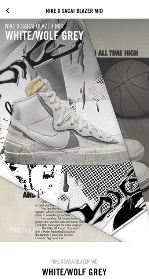 NIKE X SACAI BLAZER MID WHITE/WOLF GREY Size 10 Brand New for Sale in Fort Lee, NJ