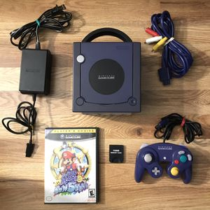 GameCube Indigo System Console Bundle With Cables, Controller, Memory Card & Super Mario Sunshine for Sale in Banning, CA