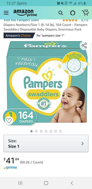Diapers Newborn/Size 1 (8-14 lb), 164 Count - Pampers Swaddlers Disposable Baby Diapers, Enormous Pack for Sale in Clovis, CA
