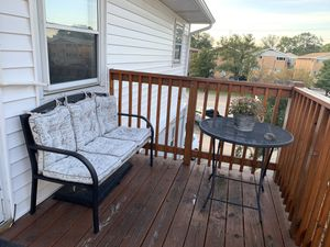 Patio Furniture: Mesh Metallic Table & Wood and Metal Bench for Sale in Schiller Park, IL