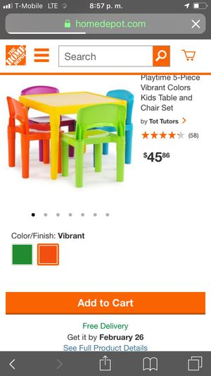 Playtime 5-Piece Vibrant Colors Kids Table and Chair Set for Sale in Norwalk, CA