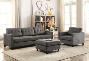 GRAY LINEN 3 PIECE SECTIONAL SOFA OTTOMAN CHAIR REVERSIBLE CHAISE / SILLON GRIS SECCIONAL for Sale in Rancho Cucamonga, CA