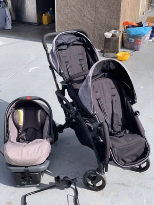 Graco car seat and contours elite tandem double stroller for Sale in Long Beach, CA