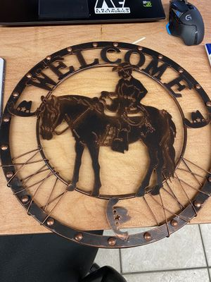 Metal horse and cowboy welcome sign for Sale in Rockledge, FL