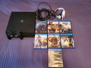 PS4 PRO BUNDLE with 7 Games and headset for Sale in Las Vegas, NV