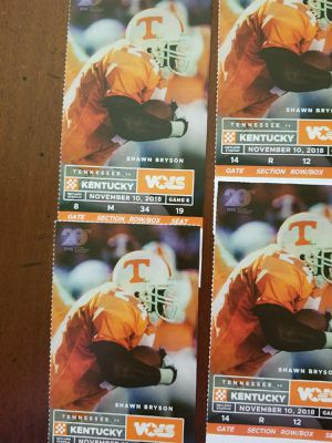 2 pair UT KY TIX for Sale in Knoxville, TN