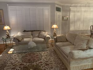 1. Fringed Cream Damask Sofas 2. 2 Glasd Top End. Tables. 3. Glass Coffee Table. 4. Lamps for Sale in Virginia Beach, VA
