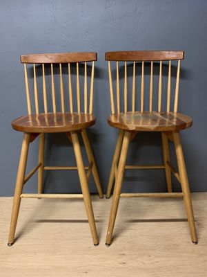 W A Mitchell spindle back Windsor crest bar stools. for Sale in Portland, OR