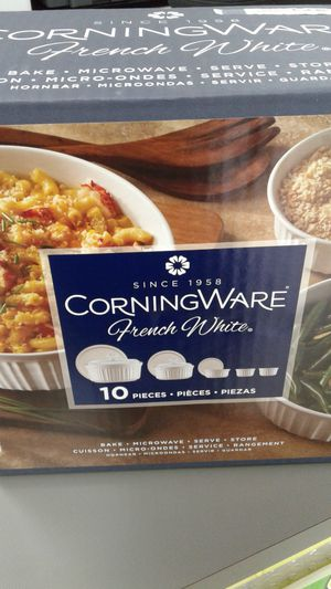 Corningware 10 Piece Cooking and Serving Dishes Frech White New for Sale in Oakland Park, FL