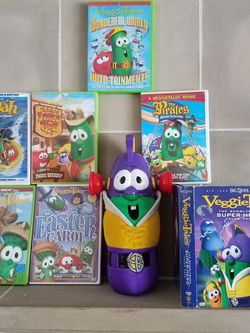 """Childrens DVD's """"VeggieTales"""" 10 DVD Movies by: Big Idea """"6 Movies + 4 Larry Boy Movies with Stuffed Larry Boy"""" for Sale in Orlando,  FL"""