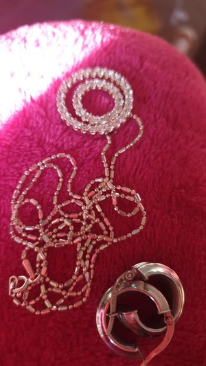 1k karat white gold earrings , 18k white gold chain and pendant for Sale in Columbia, MD