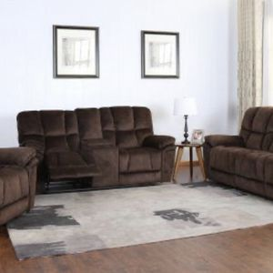 NEW BARCELONA MICROFIBER RECLINING SOFA LOVE SEAT AND CHAIR BROWN OR GRAY ONLY $1299 NO CREDIT CHECK OR ONE YEAR DEFERRED INTEREST FINANCING AVAILA for Sale in Brandon, FL