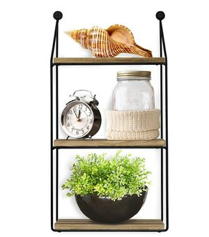 3 Tier Wall Mounted Floating Shelves, Home Decor, Metal Wire and Rustic Wood Wall Storage for Sale in ROWLAND HGHTS, CA