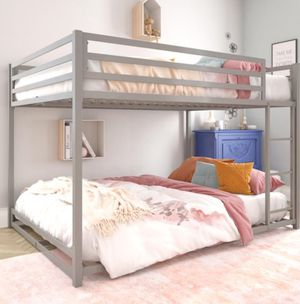New!! Bed, full bed, full bunk bed , full over full bunk bed, bedroom furniture , silver for Sale in Phoenix, AZ