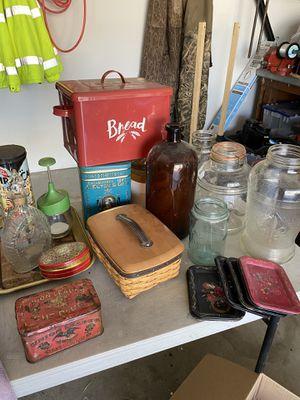 Tins Longaberger basket antique bottles for Sale in Montclair, CA