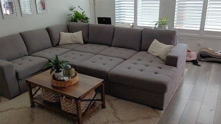Sleeper Sectional - Sectional Couch With Storage And Pop Up Sleeper Cushions for Sale in Sloan,  NV