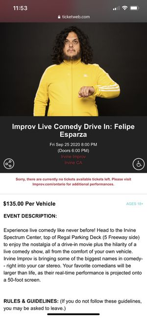 Felipe Esparza drive up comedy show for Sale in San Fernando, CA