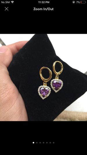 18k gold plated cz dangles earrings for Sale in Silver Spring, MD