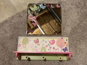 Hanger Shelf with a Mirror Butterfly theme 3 Hooks for Sale in Naperville, IL