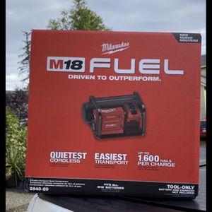 Milwaukee M18 Fuel Compressor for Sale in Tacoma, WA