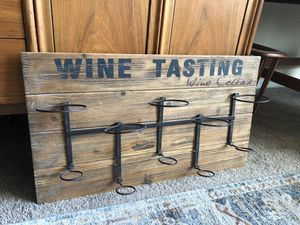 Rustic Farmhouse Wood Foldable Wine Bottle Holder Sign Hanging Wall Art for Sale in Peoria, AZ