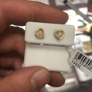 Real Diamond And Gold Heart Earrings for Sale in Boston, MA