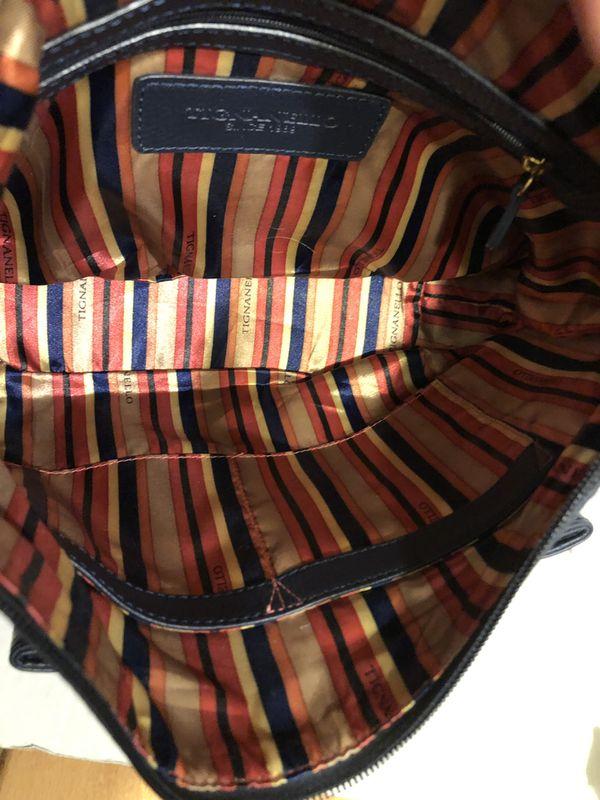 Tignanello Navy Pebble Leather shoulder bag