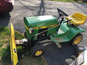 """JD108 lawn tractor 30"""" mulching deck and plow for Sale in Mechanicsville, MD"""