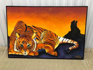 Large Beautiful Tiger Picture Oil Painting on Canvas Wall Art Decor for Sale in Palm Springs, FL