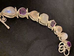 Stunning Amethyst, Rose Quartz And Moonstone silver bracelet with interlocking Three Ring Clasp for three settings. 8 in. Long for Sale in Brandon, FL