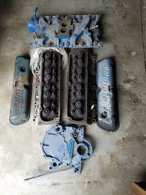 Ford 351W cylinder heads, intake timing cover, valve covers for Sale in Britt, IA