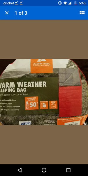 Ozark Trail Warm Weather Sleeping Bag for Sale in Philadelphia, PA