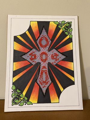 Beaded cross/ drawing for Sale in Sioux Falls, SD