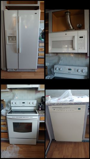 Maytag Fridge, GE Microwave, Samsung Electric Range and GE Dishwasher - set of 4, white for Sale in Skokie, IL