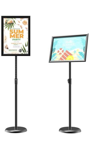 GUOHONG Sign Holder Adjustable Poster Stand Aluminum Snap Open Frame,Standing Floor Sign Stand for 11x17 Inch,Vertical and Horizontal View Sign Displ for Sale in Rosemead, CA