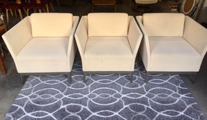 3 Modern Bernhardt Chairs with Chrome Legs / Cream Colored Fabric for Sale in Puyallup, WA