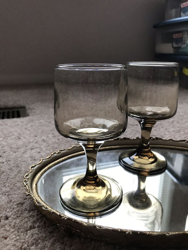 3 Vintage Mid Century Smoked Glass Wine Glasses