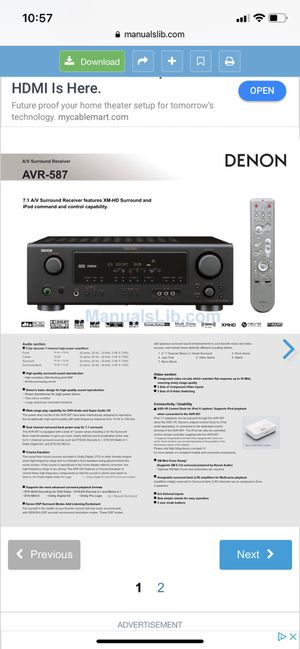 Denon Home Stereo Receiver, Good condition!!! for Sale in Jurupa Valley, CA