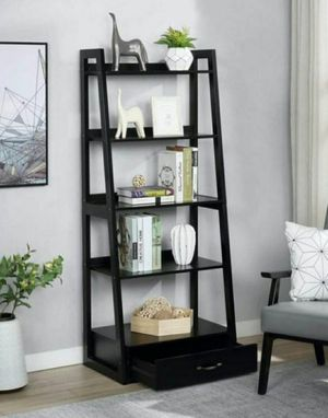 "64"" Black Wood 5-shelf Ladder Bookcase with Drawer for Sale in Diamond Bar, CA"