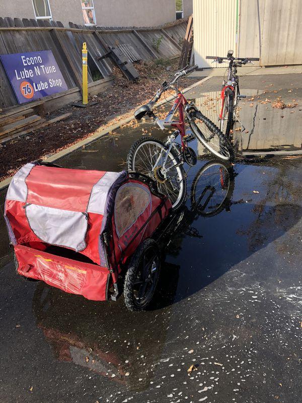 Mountain bikes & trailer all 3 -$350