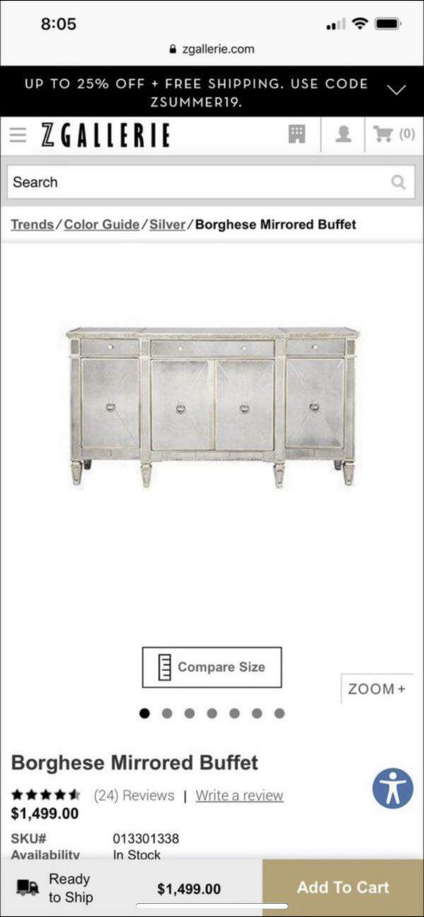 Mirrored Buffett Table or Entertainment Console