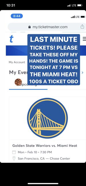 Heat Vs golden state tickets tonight for Sale in Fairfield, CA